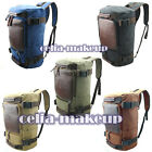 Men's Vintage Canvas Leather Hiking Travel Cuboid Military Tote Bag Backpack