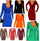 Hot Womens Vintage Jersey Bodycon Stretchy Slim Deep V Neck Cocktail Party Dress