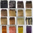 """15""""-22""""Available Brazilian Hair Clip In Human Hair Extensions 7pcs Full Head Set"""