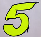 x1 Digit Race Numbers vinyl stickers Style 2 Fluorescent Yellow/Black