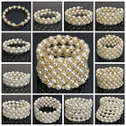 Fashion Pearl Crystal Diamond Cuff Bangle Wedding Bridal Wristband Bracelet Gift