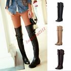 Plus UK sz ladies over knee high boots shoes faux leather flat boots zip knight