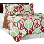 Peace Sign Quilted Blanket Coverlet Bright Colors Twin Size College Kids Dorm