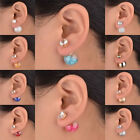 Flossy Charm Double Two Ball Crystal Eardrop Stud Plug Acrylic Side Earrings