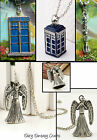 DR WHO TARDIS PENDANT NECKLACE WEEPING ANGEL SONIC SCREWDRIVER CHARM POLICE BOX