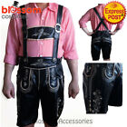 K97 Mens Authentic German Black Faux Leather Lederhosen Oktoberfest Beer Costume