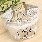 1pc Infinity Love Heart Charm Rope Leather Wrap Bracelet Womens Jewelry