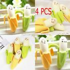4PCS Rubber Pencil Eraser Lovely Banana Stationery For Student  Novelty Cute