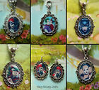 HARLEY QUINN OR THE JOKER CLIP ON CHARM NECKLACE EARRINGS COMIC BOOK VILLAINS