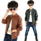 2016 New Fall Winter Toddler Kids Boys Cool Leather Jacket Coats 4-14Y