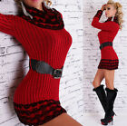 Womens Long Sleeve Cowl Neck Pullover Sweater Top + Belt - S/M (US 2-4-6)