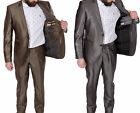 Bossi Designer Shiny Silver Grey Brown Slim Fit Suit Business Wedding 38 40 42