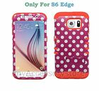 Samsung Galaxy S6 EDGE Pink Polka Dots RKR Hard&Rubber Rugged Phone Case Cover