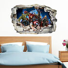 Avengers in Wall Crack SuperHeroes Kids Boy Bedroom Decal Art Sticker Gift New