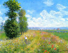 Fine Art Prints on Canvas Meadow with Poplars Claude Monet Painting Reproduction