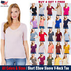 Women's V-Neck Elbow 3/4 Sleeve Basic T-Shirt Top Stetchy Tee S/M/L/1XL/2XL/3XL
