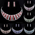 Gorgeous Exaggerate Wedding Party Women Rhinestone Necklace Earrings Jewelry Set