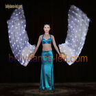 1 pair led silk fan veils belly dance glow light up white 160 LEDs rechargeable