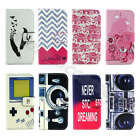Dirtproof Stand Cash Card Synthetic Leather Book Case Cover For iPhone Samsung
