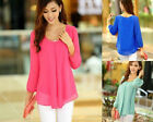 Korean Fashion Womens Clothes Loose Chiffon Tops Long Sleeve Shirt Casual Blouse