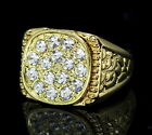 Mens Nugget Design Pinky Ring 14k Gold Plated Iced Cz Hip Hop Jewelry image