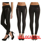 Women Black PU leather Zip Leggings Jeggings Denim Look Skinny Stretch Pants USA
