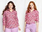 New Lands' End Supima Cotton Pink Ikat Floral Shirt Button Down 3/4 Sleeves