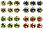 6 Pairs Studex Ear Piercing Gold Plated Stud Earrings Birthstones Bezel Setting