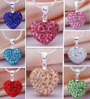 Women Crystal Heart Silver Plated Chain Pendant Necklace New100%