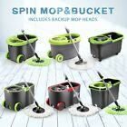360 Degree Spinning Mop & Stainless Steel Spin-Dry Bucket w/ Mop Heads Free Home