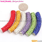 9x48mm Bling Curved Tube CZ Crystal Beads Pave Beads Rhinestones Jewelry Making