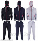 Mens Tracksuit With Colour Striped Hood Contrast Colour Zip 2 Piece Set NEW