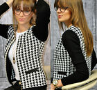 Fashion Womens Houndstooth Zipper Blazer Outerwear Tops Casual Short Coat Jacket