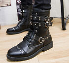 Mens british knight combat buckle rivet lace up military ridding boots shoes