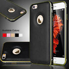 "Aluminum Metal Frame Bumper Leather Cover Case for iPhone 6s 4.7"" / 6s Plus 5.5"""