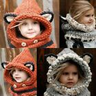 Baby Boy Girl Toddler Kids Cute Fox Hat Wool Knitted Crochet Winter Warm Cap