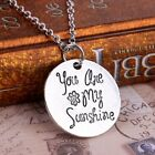 """Unique Handmade Letter """"You Are My Sunshine"""" Round Silver Pendant Necklace Chain"""