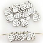 50Pcs New WHOLESALE SILVER/GOLD PLATED LOVE HEART BEADS CHARMS PENDANTS JEWELRY