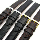 Padded Croc Grain Leather Watch Strap Band 16mm 18mm 20mm Black or Brown