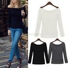 S/M/L/XL Women's Sexy Off Shoulder Casual Boat Neck Slim T-Shirt Tops Blouse G59
