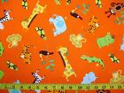 JUNGLE BUNCH - WILD ANIMALS SCATTERED ON ORNAGE 100% cotton patchwork fabric