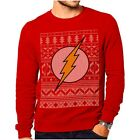 Official The Flash Logo Fair Isle Red Christmas Jumper Sweatshirt - DC Comics