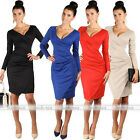 Womens Irregular V-Neck Long Sleeve Pleated Bodycon Cocktail Party Dress Elegant