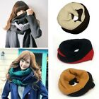 Hot Unisex Men Women Knit Winter Warm Cowl Neck Warmer 2 Circle Scarf Shawl Wrap