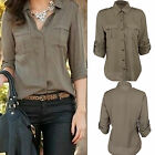 Fashion Women Button Down Shirt Casual Long Sleeve Slim T-shirt Tops Blouse CHIC