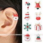 Xmas Gift Santa Cane Snowflake Cuff Wrap Ear Clip Earring Non Piercing Jewelry