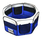 New Dog Pet Cat Playpen Kennel Exercise Pen Crate Fence - Blue