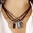 New Gemstone Natural Crystal Quartz Healing Point Stone Silver Pendant Necklace