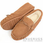 Mens Genuine Suede Moccasin / Sheepskin Slipper Hard / Rubber Sole Light Brown