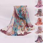 Large Scarf Women Soft Long Neck Wrap Shawl Voile Silk Stole Flower Scarves Gift